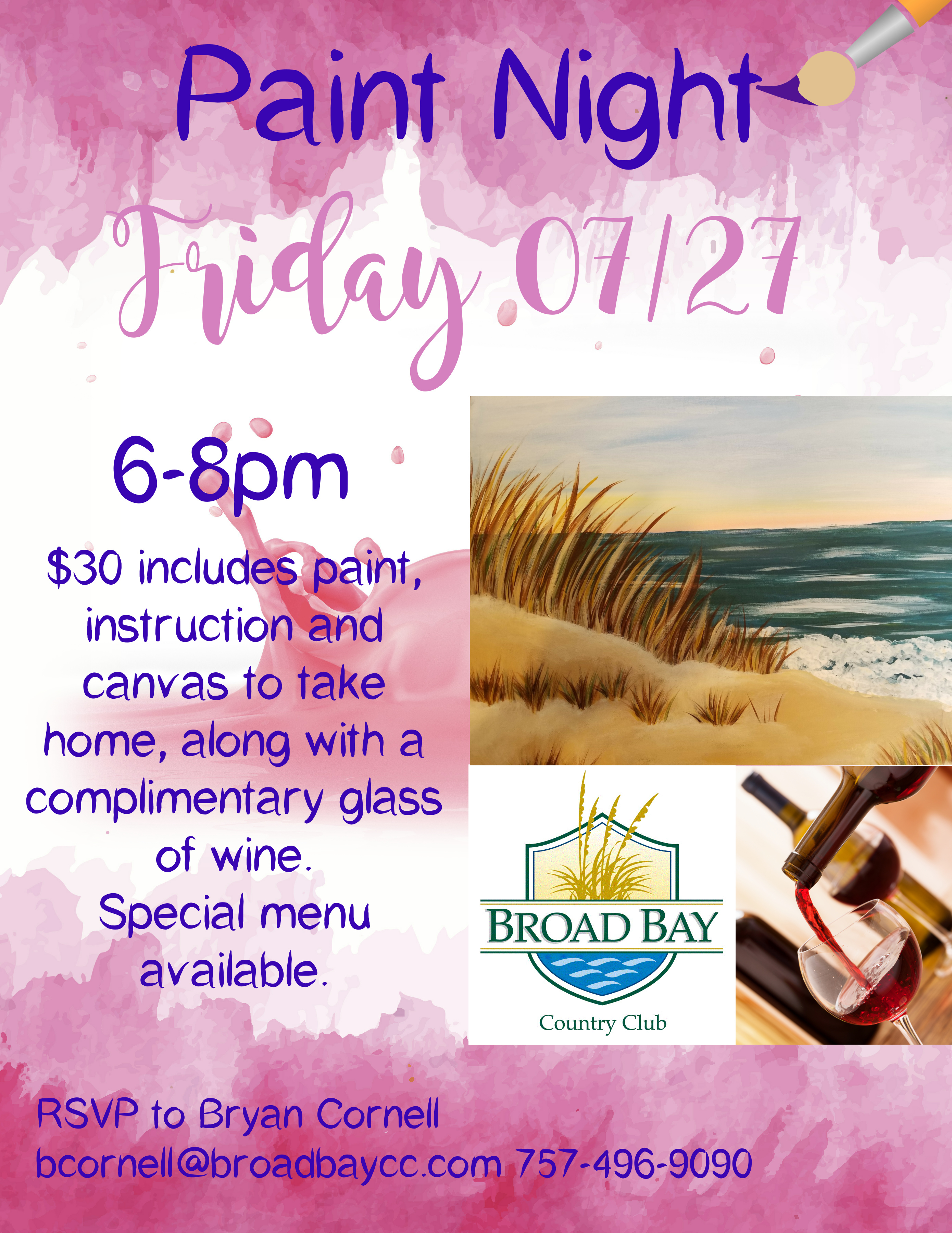 ladies paint night broad bay country club 2018 07 27